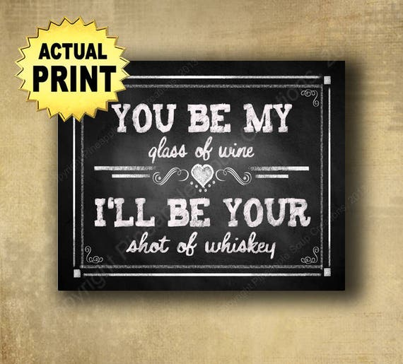Printed wine whiskey sign, glass of wine sign, shot of whiskey, chalkboard wedding bar sign, rustic wedding, barn wedding, country wedding