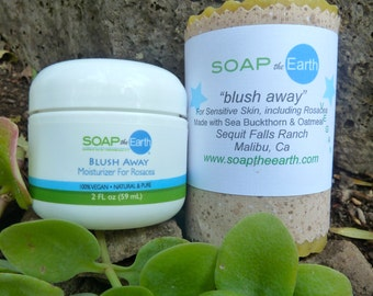 Rosacea & Sensitive skin Moisturizer and Soap Set Organic Ingredients Vegan
