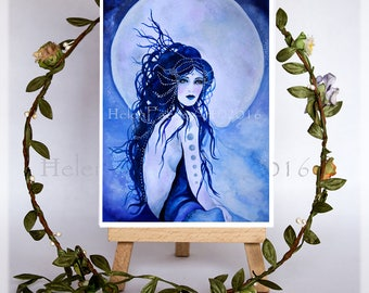 Blank Greeting Cards, Moon Goddess, Birthday Card, Fantasy Art, Greeting Cards, All Occasion Card, Blue Cards, Moon Card, Full Moon Art
