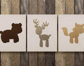 Woodland Animal Nursery - Printable Nursery Art - Woodland Nursery Art - Baby Woodland Animals - Woodland Nursery Print - Woodland Nursery