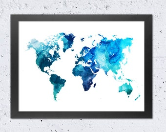 World Map Print, World Map Blue Watercolor Silhouette Print, Turquoise Blue Cyan, Modern Wall Art Home Office Decor, Travel Gift DIY digital