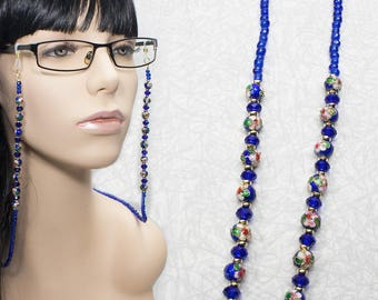 Blue Sapphire and Gold Eyeglasses Chain / Beaded Glasses Chain