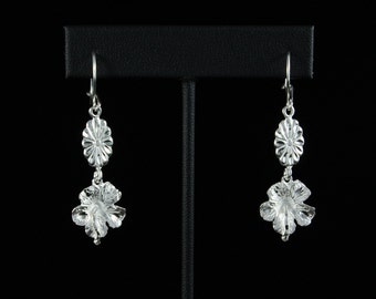 West Indian Hibiscus Flower Hanging Earrings in .925 Sterling Silver