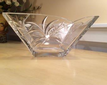 Block Lead Crystal Bowl Handcrafted  Nassau Pattern
