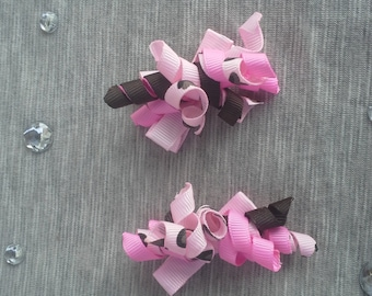 Girls Pink/Brown Hair Clips - Set of 2