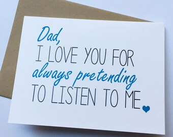 Dad Card - Dad from Daughter - Dad Birthday Card - Father's Day Card - Funny Card for Dad