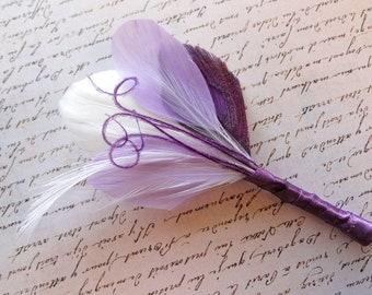 PATRICK White, Lavender, and Grape Purple Peacock Feather Boutonniere, Groom's Boutonniere