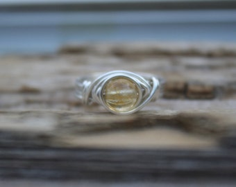 CITRINE Wire Wrapped Ring, Sterling Silver Ring, Gemstone Rings, Silver and yellow, Beach Jewelry, BOHO, Handmade, November Birthstone