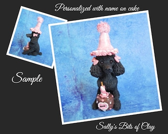 Black Poodle with Bows BIRTHDAY dog OOAK Clay Cake Topper art by Sallys Bits of Clay Original Sculpture name on Cake