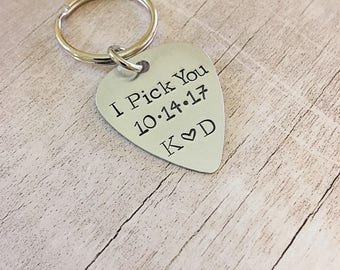 I Pick You Keychain - Gift for Groom - I Pick You - Guitar Pick Keychain