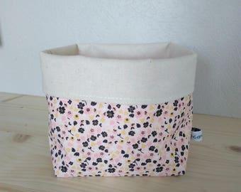 Fabric basket empty Pocket ecru and pink floral print cotton fabric basket floral
