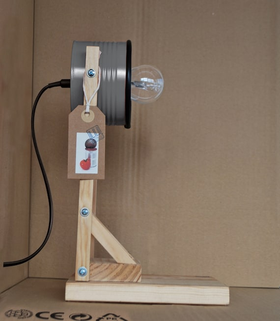 Grey desk lamp / night lamp - eco friendly: recycled from tomato can !!! UK or EURO or US plug