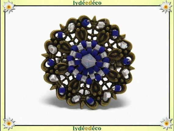 Japanese blue white glass 25mm brass beads charm retro vintage adjustable flower ring