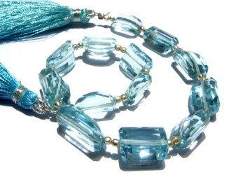 8 Inches -  AAA Aqua Blue Quartz Step Cut Faceted Nuggets Size 14x9 - 16x12mm approx