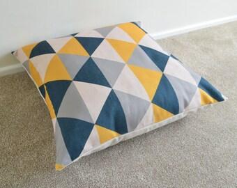"1 x Mustard/Grey/Charcaol Black GeometricCotton Linen Floor Cushion/Pillow Cover 26x26"""