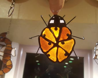 Large Sea Glass Lady Bug