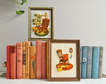 Vintage Pair of Crewel Embroidered Wall Hangings - Rocking Chairs and Houseplants