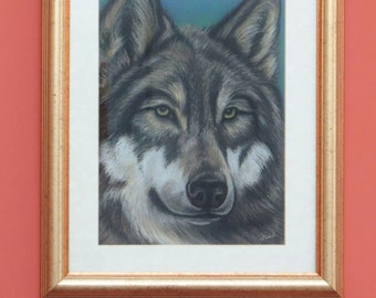 Wolf portrait Native American Indian spirit wolves eyes original painting north american wildlife Yellowstone national park wild west
