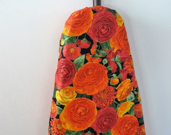 Ironing Board Cover - orange and red flowers on black background
