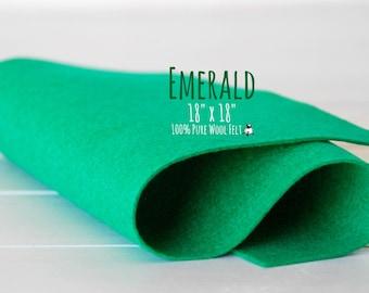 """100% Wool Felt 18"""" Square - Pure Merino Wool Felt Large Sheet - 18"""" X 18"""" - Color Emerald-1210 - Pure Wool Felt - Emerald Color Wool Felt"""