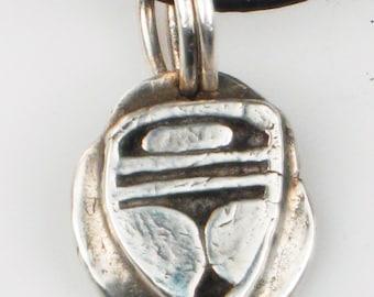 African Tribal Shaman Warrior Shield Fine Silver Pendant - Petite Tribal Pendant - Unique Gift Pendant - Shaman Mask Pendant  Necklace