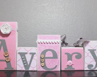 Light Pink Grey Nursery- Girly Nursery- White Light Pink Gray Baby Shower- Custom Nursery Letters- White Pink Gray Nursery- Princess Nursery