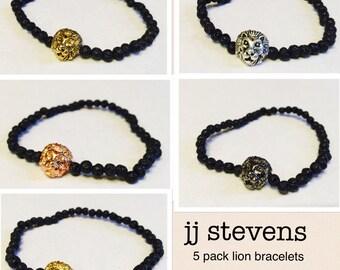 Lava Lion Bracelets (set of 5), Lion Head Bracelets, Black Lava Bracelets, Black Lava Beads, Mens Bracelets, Mens Beaded Bracelets, Gift