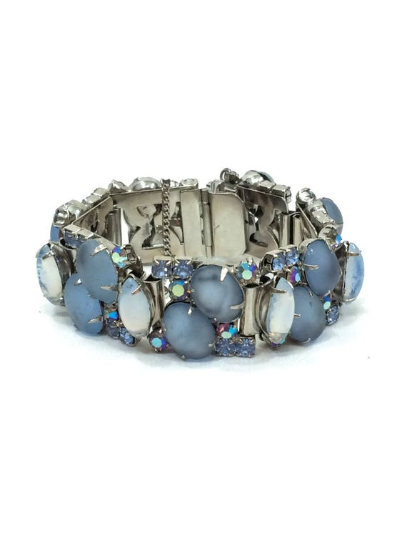 Kramer Chunky Bracelet, Pale Blue Periwinkle Satin Glass, Marquise Moonstones Silvertone, 1950s Vintage Statement Fashion Jewelry
