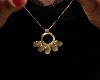 Long necklace, gold necklace, floral necklace, botanical necklace, romantic necklace, gift for her