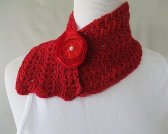Scarf. Neckwear. Scarfette. Cowl.  Necklace.  Scallops Teen. Women. Accessory. Crochet. Flower. Pearl.  Lace. Lacy. Crocheted. Accessorize