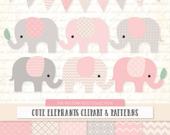 Patterned Soft Pink Elephants Clipart and Digital Papers - Soft Pink Elephant Clipart, Elephant Vectors, Baby Elephants, Cute Elephants