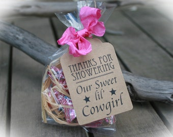 Cowgirl Baby Shower Favors- DIY Bags/Favor Tags w/Ribbon - Candy Favors- Baby Shower DIY Kits- Western Baby Shower