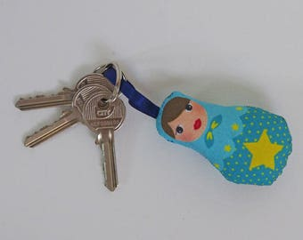 Blue Star matryoshka Keychain yellow