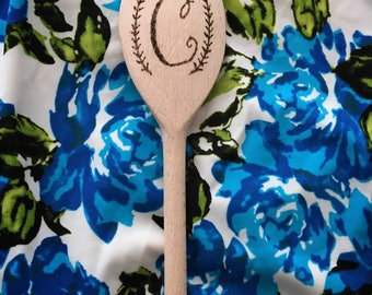 Personalised custom wood burned wooden spoon. With any initial you wish