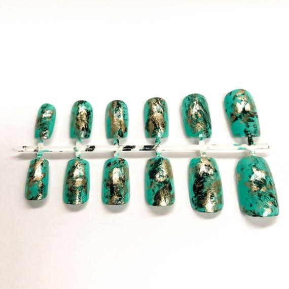 Piedra turquesa uñas postizas color turquesa joyería de la