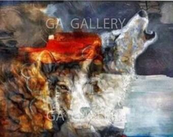 Œuvre moderne loup mystique en Giclée par A. blin