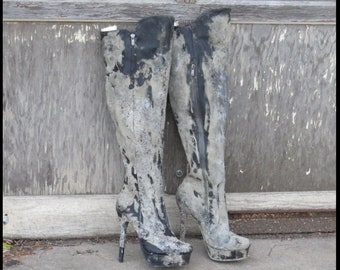 Post Apocalyptic BOOTS Black faux LEATHER Boots THIGH HiGH boots FAllout Womens 9.5