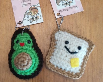 Set of 2 BFF Keychains - Avocado and Toast
