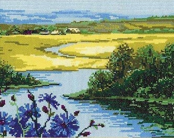 Instant Download Counted Cross Stitch Chart PDF Pattern N83ld - Landscape with Cornflowers