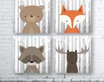 Square WOODLAND Animals Wall Art Print-Set of Four (4) - Digital Download. Woodland Creatures Wall Art Printable. Forest Friends Printable.