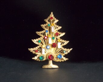 """FREE SHIPPING - Signed Brook the """"Harp"""" Christmas Tree Brooch"""