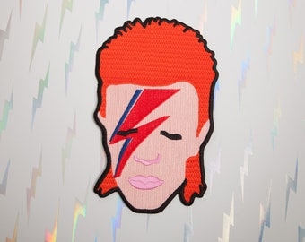Extra Large David Bowie Inspired Back Patch - Made with Vegan Iron-On Adhesive - Sewing 80s Rock n Roll Glam Aladdin Sane Ziggy Stardust