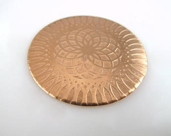 Enameling Disc, Mandala, Copper Enameling Disc, Textured Copper Disc 38MM, JA-JAED-002