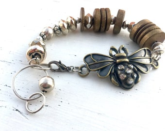 Antique Gold Queen Bee Silver and Gold Beaded Bracelet