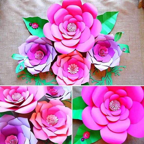 Paper Flower Wall Template: Paper Flower Templates Diy Paper Flower Wall Paper Flower