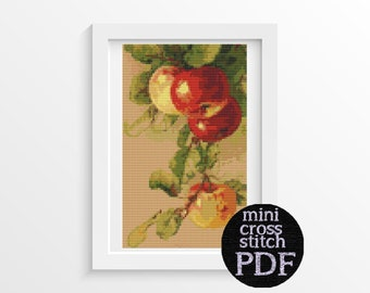 Apples Cross Stitch Pattern PDF by Catherine Klein, Fruits Cross Stitch Chart, 5 x 8 inches