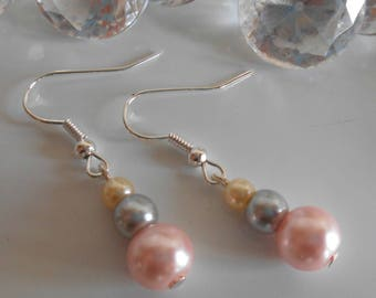 Wedding trend earrings pink gray and cream