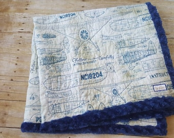 Airplane Blanket, Quilted Snuggle Blanket, Blue Minky, Baby Gift