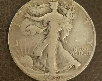 1939 Walking Liberty Silver Half Dollar 90% Silver.  #W009