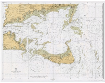 Nantucket Sound and Approaches - 1933 - Nautical Map Reprint 80000 AC 1209
